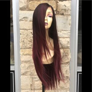 Accessories - Red Wine Ombré Valentines Day Lacefront Wig 2020